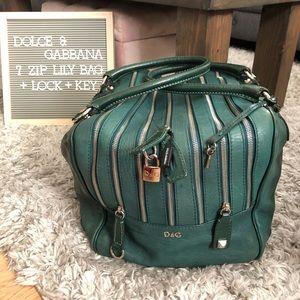 Dolce & Gabbana 7 Zip Lily Bag w/ Lock & Key